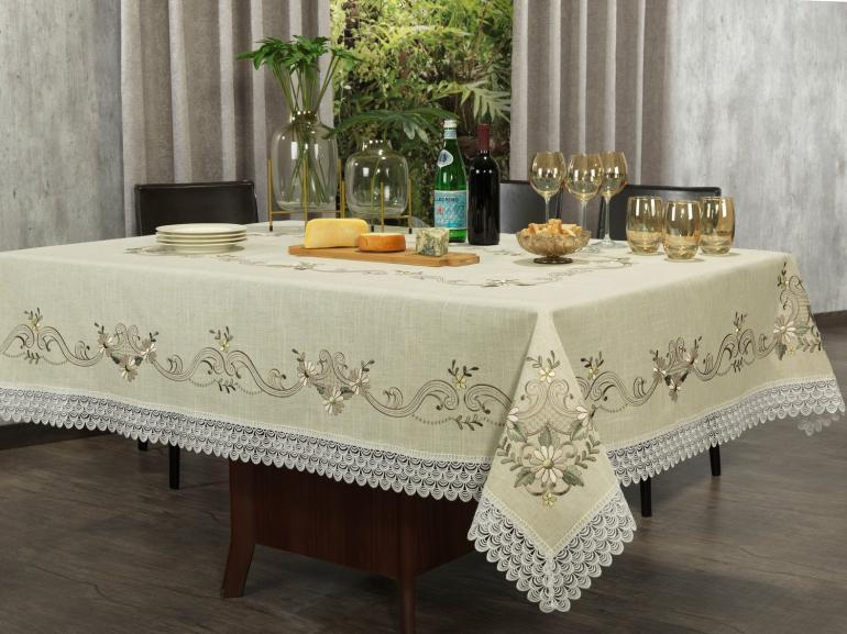Toalha de Mesa de Linho com Bordado Richelieu Retangular 6 Lugares 160x220cm - Venice Bege - Dui Design