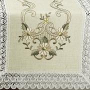 Trilho de Mesa de Linho com Bordado Richelieu 45x170cm Avulso - Venice Bege - Dui Design