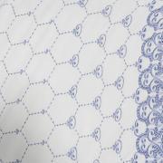 Enxoval 10 peças com Cobre-leito Queen Cetim de Algodão 300 fios com Bordado Inglês - Venice Branco e Porcelana - Dui Design