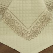 Jogo de Cama Queen Cetim de Algodão 300 fios com Bordado Inglês - Venice Marfim e Camurça - Dui Design