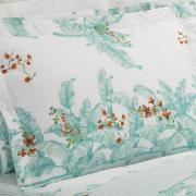 Kit: 1 Cobre-leito Casal + 2 Porta-travesseiros Percal 180 fios - Verena Acqua - Dui Design