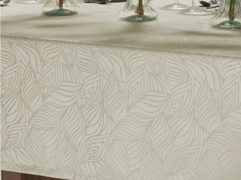 Toalha de Mesa Fácil de Limpar Retangular 6 Lugares 160x220cm - Vernom Bege - Dui Design