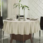 Toalha de Mesa Fácil de Limpar Redonda 220cm - Vernom Bege - Dui Design