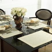 Jogo Americano 4 Lugares (4 peças) Fácil de Limpar 35x50cm - Vernom Champagne - Dui Design