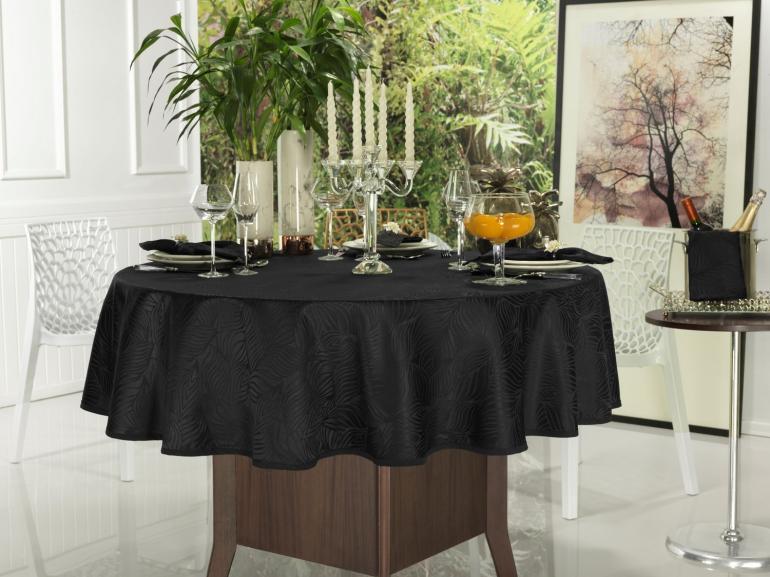 Toalha de Mesa Fácil de Limpar Redonda 220cm - Vernom Preto - Dui Design