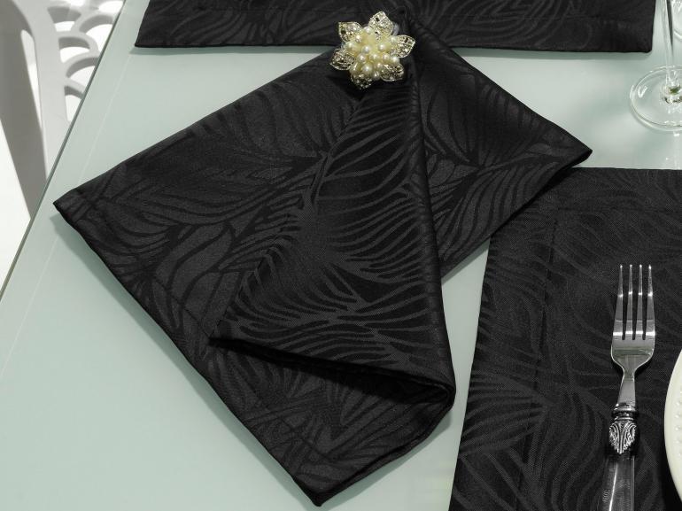 Kit: 4 Guardanapos 50x50cm - Vernom Preto - Dui Design