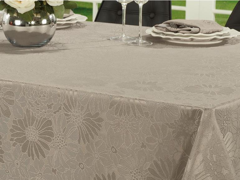 Toalha de Mesa Fácil de Limpar Quadrada 8 Lugares 220x220cm - Viena Noz Moscada - Dui Design