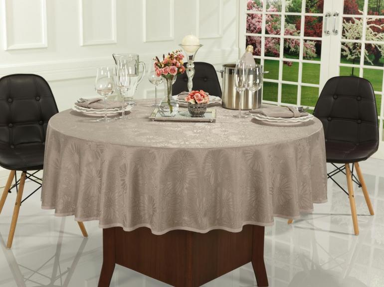 Toalha de Mesa Fácil de Limpar Redonda 220cm - Viena Noz Moscada - Dui Design