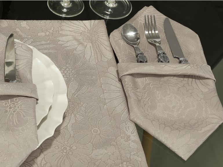 Kit: 4 Guardanapos 50x50cm - Viena Noz Moscada - Dui Design