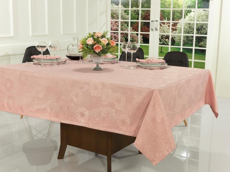 Toalha de Mesa Fácil de Limpar Quadrada 8 Lugares 220x220cm - Viena Rosa Velho - Dui Design