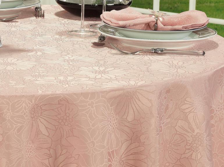 Toalha de Mesa Fácil de Limpar Redonda 220cm - Viena Rosa Velho - Dui Design