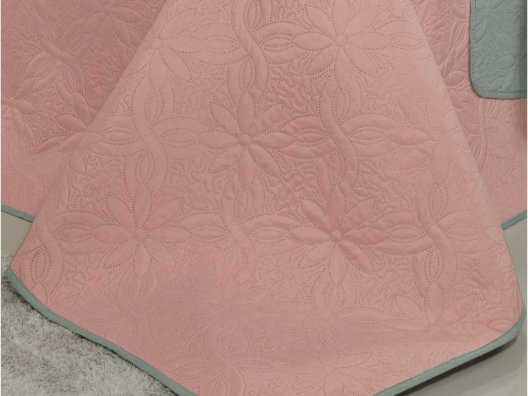 Kit: 1 Cobre-leito Queen Bouti de Microfibra Ultrasonic + 2 Porta-travesseiros - Vitara Rosa Cinza - Dui Design