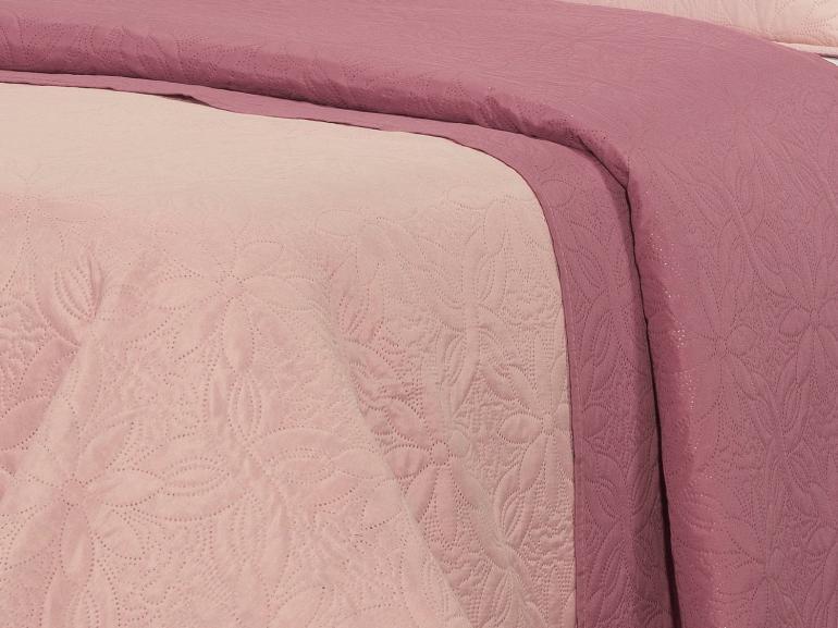 Kit: 1 Cobre-leito Casal Bouti de Microfibra Ultrasonic + 2 Porta-travesseiros - Vitara Rosa e Rosa Velho - Dui Design