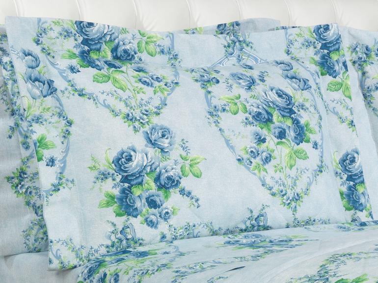 Kit: 1 Cobre-leito Casal + 2 Porta-travesseiros 150 fios - Vitória Porcelana - Dui Design