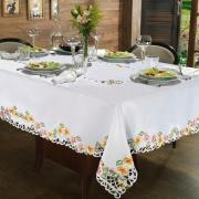 Toalha de Mesa com Bordado Richelieu Retangular 6 Lugares 160x220cm - Vitória Rosa - Dui Design