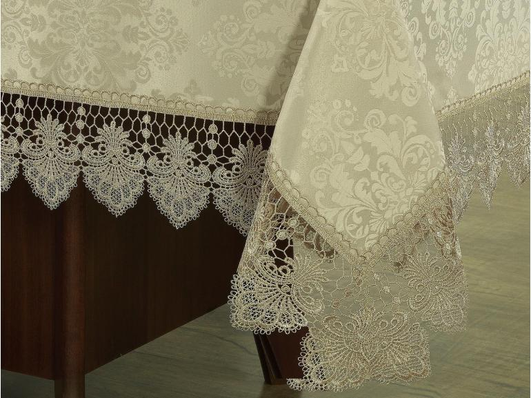 Toalha de Mesa com Bordado Guipir Fácil de Limpar Retangular 6 Lugares 160x220cm - Vitoriana Bege - Dui Design