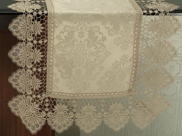 Trilho de Mesa com Bordado Guipir Fácil de Limpar 45x170cm Avulso - Vitoriana Bege - Dui Design