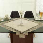 Centro de Mesa com Bordado Guipir Fácil de Limpar 85x85cm Avulso - Vitoriana Bege - Dui Design