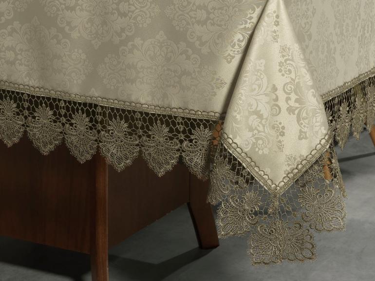Toalha de Mesa com Bordado Guipir Fácil de Limpar Quadrada 4 Lugares 160x160cm - Vitoriana Bege e Taupe - Dui Design
