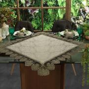 Centro de Mesa com Bordado Guipir Fácil de Limpar 85x85cm Avulso - Vitoriana Bege e Taupe - Dui Design