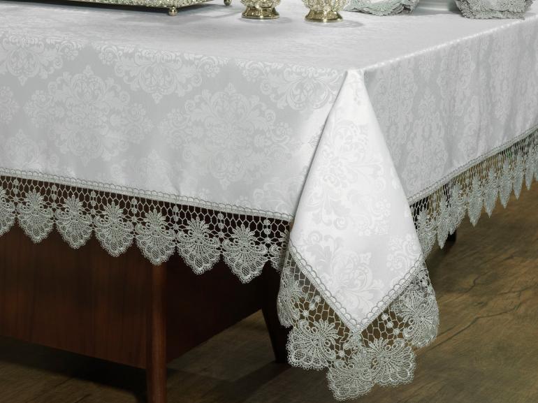 Toalha de Mesa com Bordado Guipir Fácil de Limpar Retangular 6 Lugares 160x220cm - Vitoriana Branco e Gelo - Dui Design