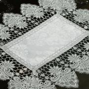 Jogo Americano 4 Lugares (4 peças) com Bordado Guipir Fácil de Limpar 35x50cm - Vitoriana Branco e Gelo - Dui Design