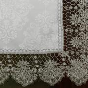 Trilho de Mesa com Bordado Guipir Fácil de Limpar 45x170cm Avulso - Vitoriana Branco e Gelo - Dui Design