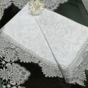 Kit: 4 Guardanapos com Bordado Guipir 50x50cm - Vitoriana Branco e Gelo - Dui Design
