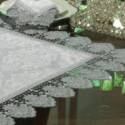 Centro de Mesa com Bordado Guipir Fácil de Limpar 85x85cm Avulso - Vitoriana Branco e Gelo - Dui Design