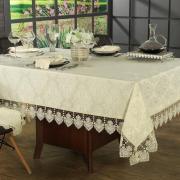 Toalha de Mesa com Bordado Guipir Fácil de Limpar Retangular 8 Lugares 160x270cm - Vitoriana Champagne - Dui Design