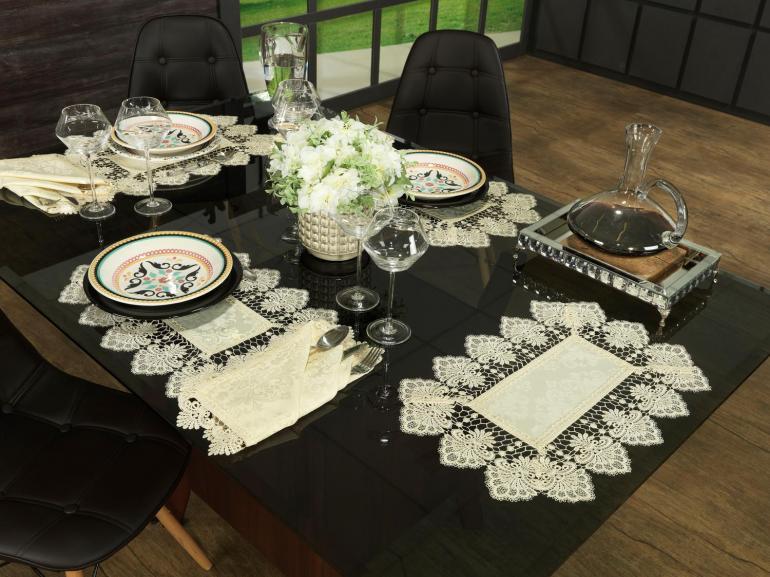 Jogo Americano 4 Lugares (4 peças) com Bordado Guipir Fácil de Limpar 35x50cm - Vitoriana Champagne - Dui Design
