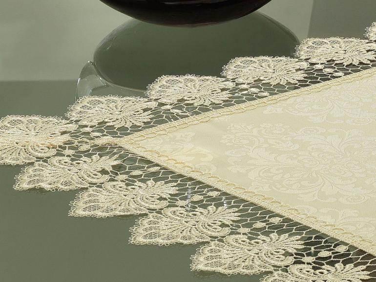 Centro de Mesa com Bordado Guipir Fácil de Limpar 85x85cm Avulso - Vitoriana Champagne - Dui Design