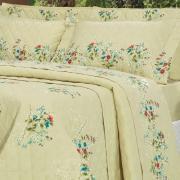 Kit: 1 Cobre-leito Casal + 2 Porta-travesseiros Percal 200 fios - Vivian Natural - Dui Design