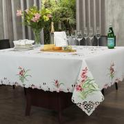 Toalha de Mesa com Bordado Richelieu Retangular 8 Lugares 160x270cm - Vivian Rosa - Dui Design