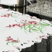 Centro de Mesa Quadrado com Bordado Richelieu 85x85cm - Vivian Rosa - Dui Design