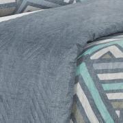 Kit: 1 Cobre-leito King Bouti de Microfibra Ultrasonic Estampada + 2 Porta-travesseiros - Vixen Azul - Dui Design