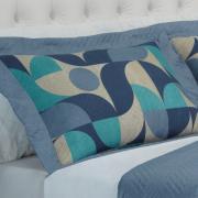 Kit: 1 Cobre-leito Casal Bouti de Microfibra Ultrasonic Estampada + 2 Porta-travesseiros - Wagner Azul - Dui Design