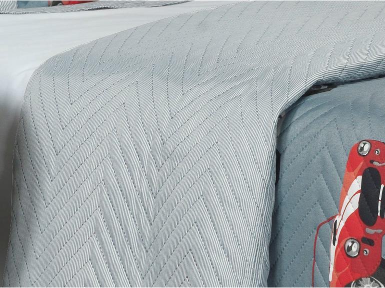 Kit: 1 Cobre-leito Solteiro Kids Bouti de Microfibra PatchWork Ultrasonic + 1 Porta-travesseiro - Willy Azul - Dui Design