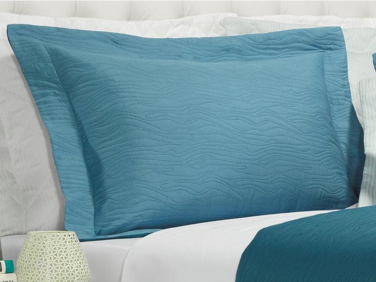 Kit: 1 Cobre-leito Solteiro Bouti de Microfibra Ultrasonic + 1 Porta-travesseiro - Wood Azul - Dui Design