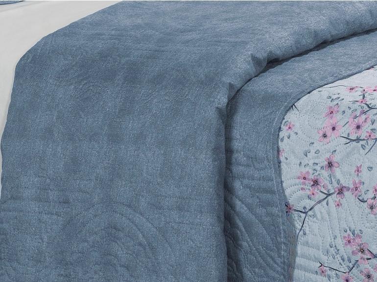 Kit: 1 Cobre-leito Solteiro Bouti de Microfibra Ultrasonic Estampada + 1 Porta-travesseiro - Xangai Azul - Dui Design