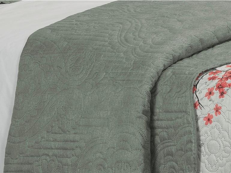 Kit: 1 Cobre-leito King Bouti de Microfibra Ultrasonic Estampada + 2 Porta-travesseiros - Xangai Cinza - Dui Design