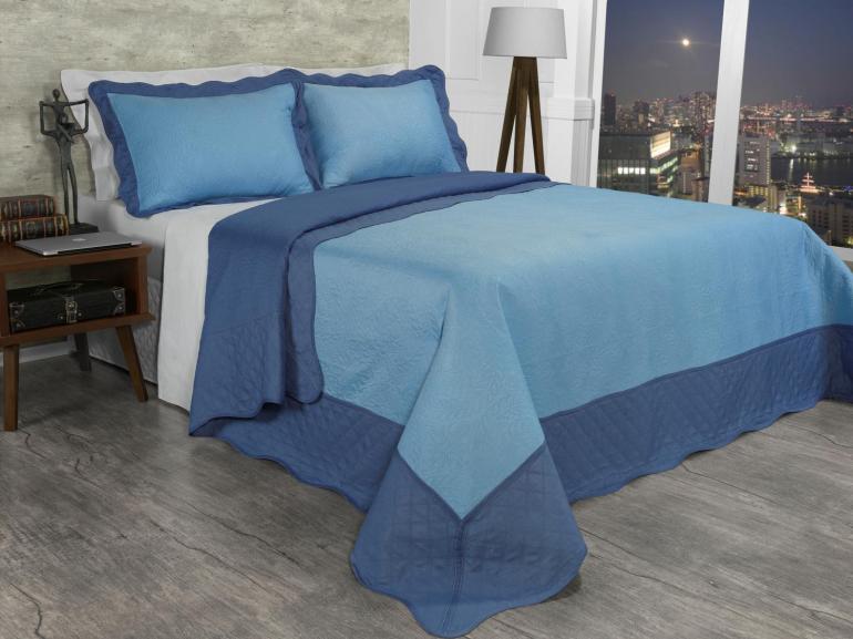 Kit: 1 Cobre-leito Queen Bouti de Microfibra Ultrasonic + 2 Porta-travesseiros - Yago Azul Indigo - Dui Design