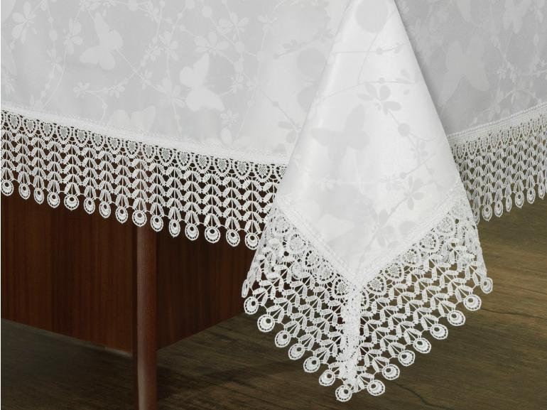 Toalha de Mesa com Bordado Guipir Fácil de Limpar Retangular 10-12 Lugares 160x320cm - Yasmim Branco - Dui Design