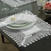 Jogo Americano 4 Lugares (4 peças) com Bordado Guipir Fácil de Limpar 35x50cm - Yasmim Branco - Dui Design