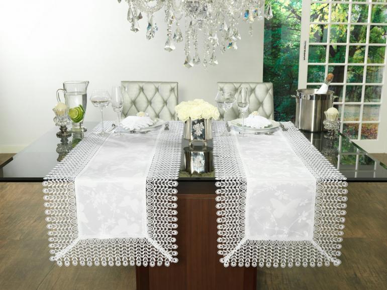 Trilho de Mesa com Bordado Guipir Fácil de Limpar 45x170cm Avulso - Yasmim Branco - Dui Design