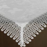 Centro de Mesa com Bordado Guipir Fácil de Limpar 85x85cm Avulso - Yasmim Branco - Dui Design
