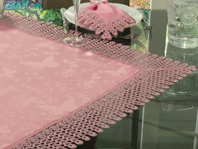 Centro de Mesa com Bordado Guipir Fácil de Limpar 85x85cm Avulso - Yasmim Rosa Velho - Dui Design