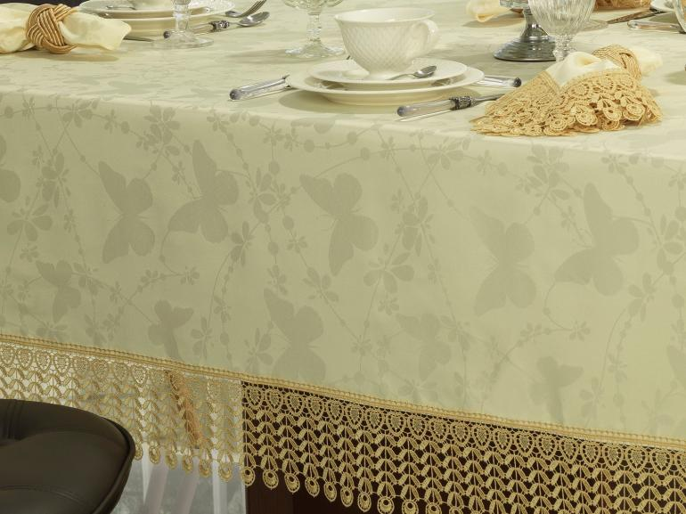 Toalha de Mesa com Bordado Guipir Fácil de Limpar Quadrada 4 Lugares 160x160cm - Yasmim Vanilla - Dui Design