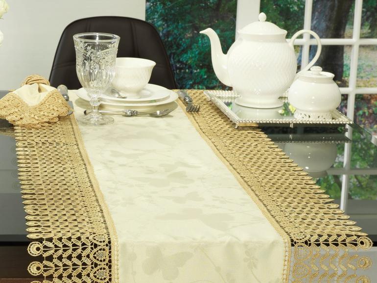 Trilho de Mesa com Bordado Guipir Fácil de Limpar 45x170cm Avulso - Yasmim Vanilla - Dui Design