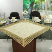 Centro de Mesa com Bordado Guipir Fácil de Limpar 85x85cm Avulso - Yasmim Vanilla - Dui Design